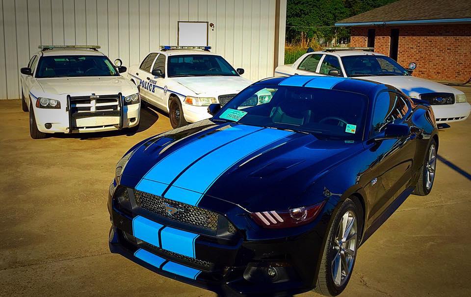 Black 2015 Mustang GT Gets Grabber Blue Racing Stripes  2015
