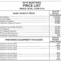 2016 Mustang Price Options List