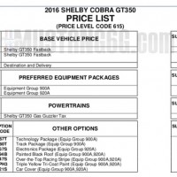 2016 Shelby GT350 & GT350R Mustang Price List