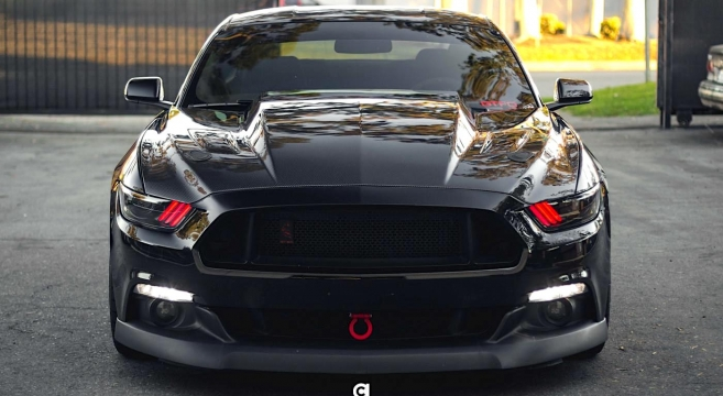 Anderson Composites Mustang Carbon Fiber Cowl Hood X on 2015 Ford Mustang Ecoboost 4 Engine