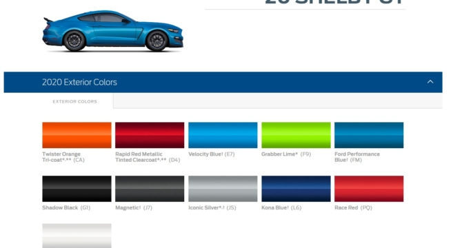 2020 GT500 Color Palate | 2015+ Mustang Forum News Blog ...