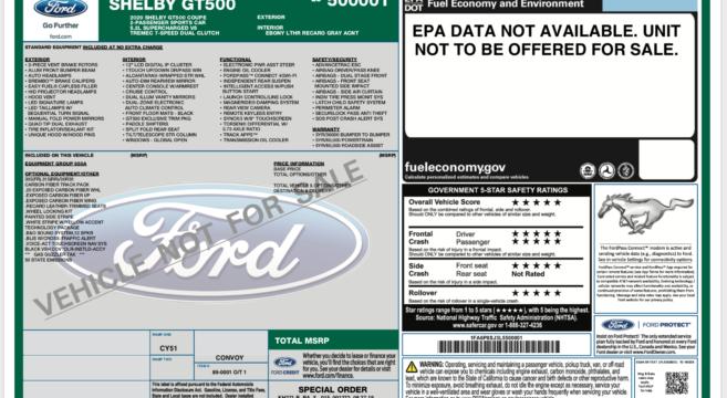 Ford Window Sticker >> 2020 Gt500 Vin 00001 Window Sticker 2015 Mustang Forum